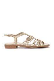Sandalo basso in pelle intrecciata color platino