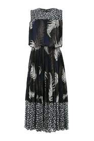 Mixed Print Pleated Maxi Dress