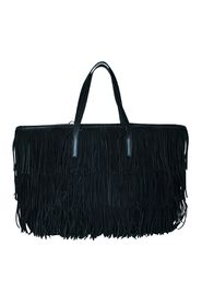 Leather Tote Bag with Fringes