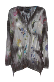 V NECK FLOWER PRINT LONG CARDIGAN