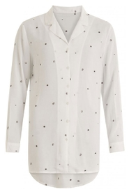 Coster Copenhagen - Long Shirt with dot-in-dot embroidery - White