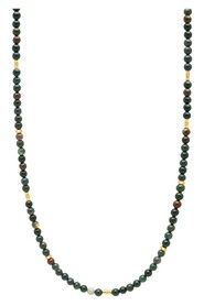 Beaded Necklace with Oriental Jasper and Sterling Gold Tube Beads