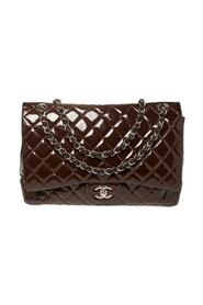 brukt Quilted Patent Leather Maxi Classic Single Flap Bag