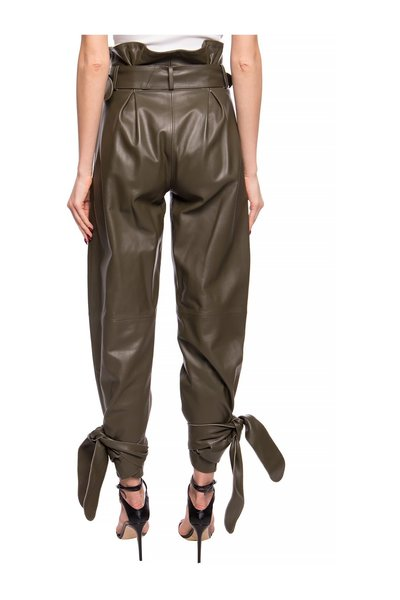 Green High-waisted Leather Trousers The Attico Skinnbyxor