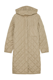 Water-resistant hooded quilted coat