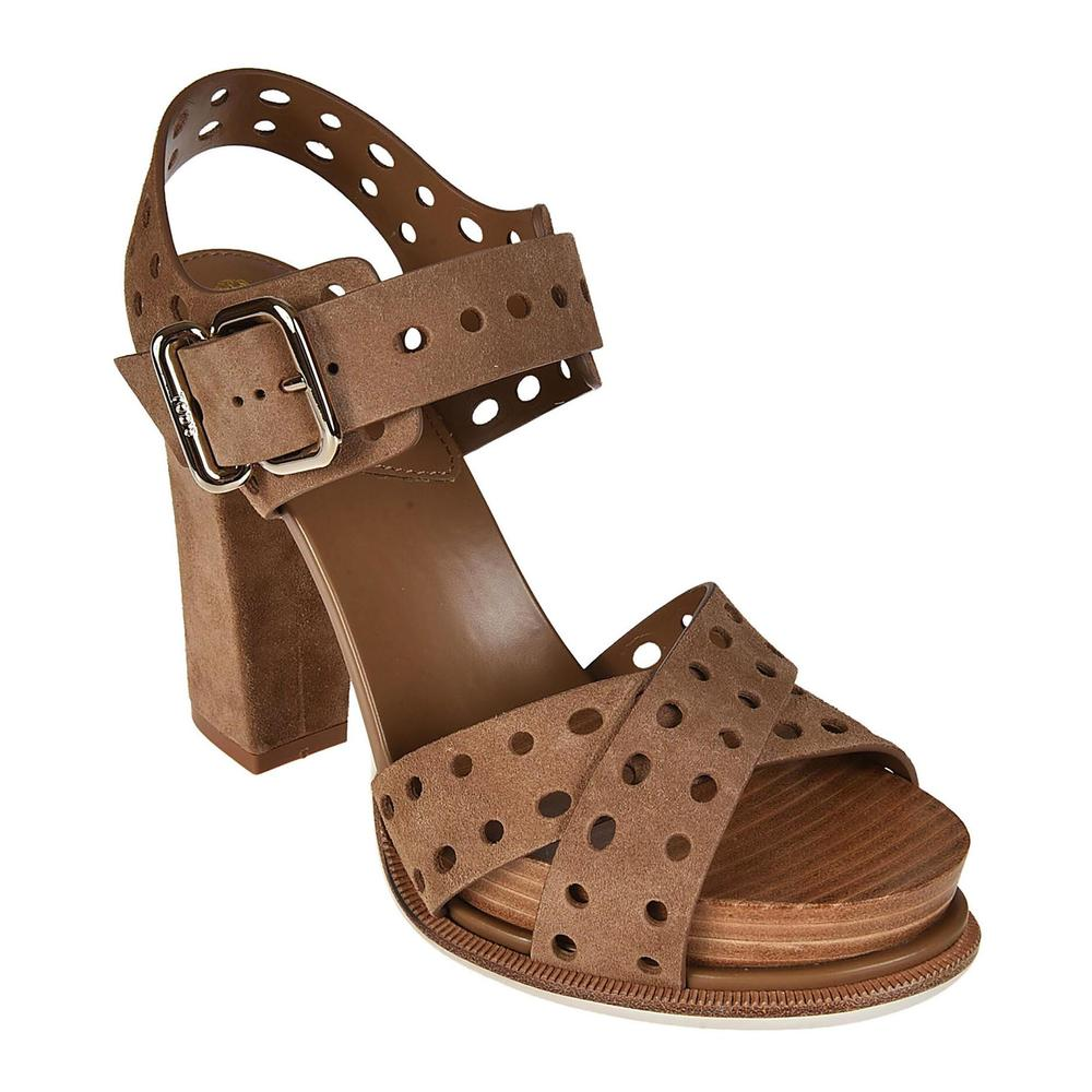 Tod's Brown Drilled suede heeled sandals Tod's
