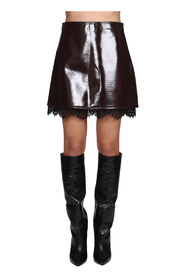STRETCH-EFFECT PAINTED MINI-SKIRT WITH LACE