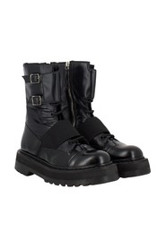 Combat boots in technical fabric and leather