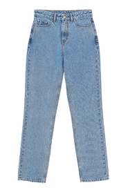 High-Waisted Washed Denim Jeans