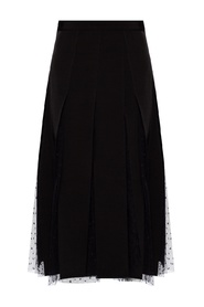 Tulle-trimmed pleated skirt