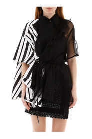 Asymmetrical shirt with stripes and chiffon