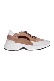 Leather and fabric sneakers with suede details