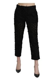Lace Straight Cropped High Waist Pants