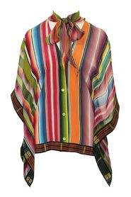 Multicolor Silk Shirt with Neck Tie