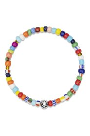 Men's Wristband with Assorted Vintage Glass Beads and Silver