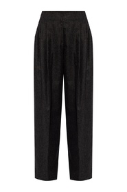 Wide-legged pleat trousers