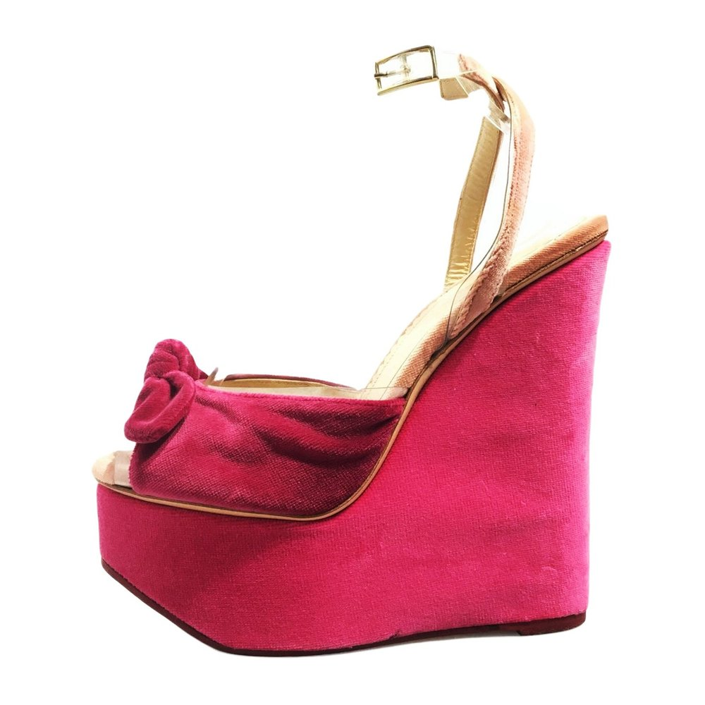 Velour Platform Wedge Sandal Fabric