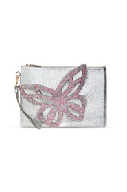 Flossy clutch with butterfly wing motif