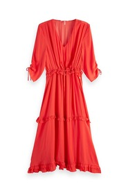 Orange/rød Maison Scotch Midi lenght dress with v-neck and ruffles