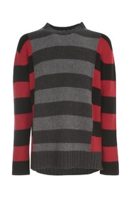 ROUND NECK SWEATER W/ CONTRAST LINES