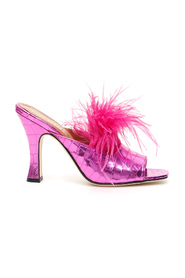 Crocodile print mules with feathers