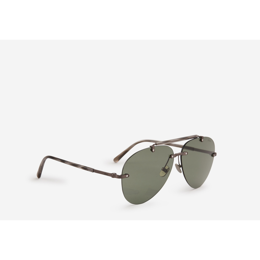 Brioni DARK GREY Metallic aviator sunglasses Brioni