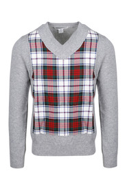 FULLY FASHIONED KNIT CARDIGAN V NECK WITH WOOL TARTAN CHECK FRONT