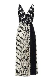 LONG PLISSÉ DRESS WITH PRINT
