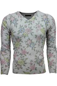 Casual Sweater Floral Motif Print