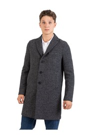 Boxy coat in anthracite virgin wool