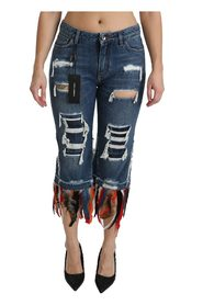 Feathers Low Waist Cropped Cotton Jeans