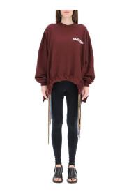oversized sweatshirt with multi drawstring