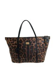 Leopard Print Coated Canvas and Leather Miss Escape Tote