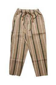 Linen trousers with elastic belt