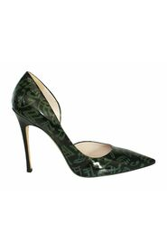 Dark Green Pointed Toe Heels with Musical Notes Print