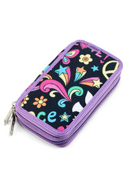 Twozip pencil case with zipper
