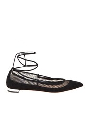 dalia flat ballerina in suede and net