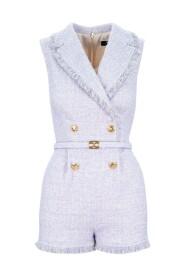 short jumpsuit in tweed fabric