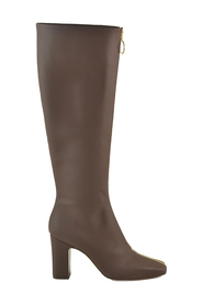 Leather Gold-tone Zippered Boots