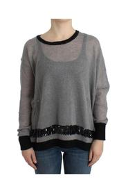 embellished asymmetric sweater