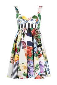 Short dress in poplin patchwork