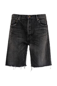 Denim Fringed Bermuda Shorts