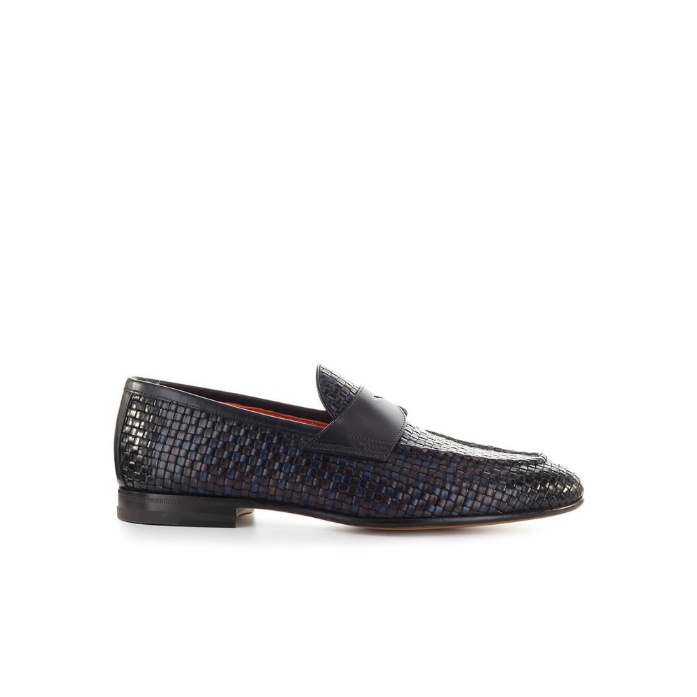 SANTONI BICOLORED WOVEN LETHAER LOAFER