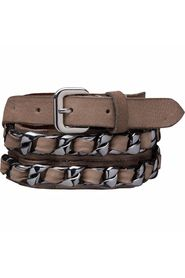 LEATHER BELT W. METAL BRAIDING