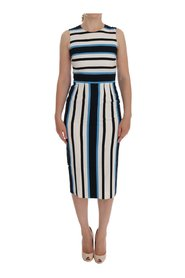 Striped Silk Stretch Sheath Dress