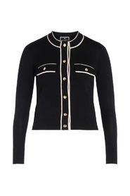 Contrasting piping cardigan and gold buttons