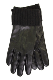 Leather Gloves With Knitted Lin Accessories