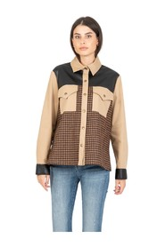 Overshirt with pied-de-poule insert
