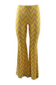 flared trousers with ocher geometric print