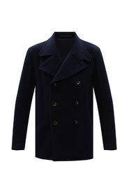 Wool coat with notched lapels